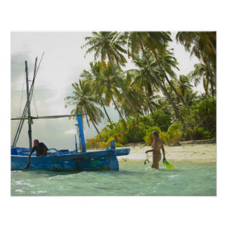 Woman on small traditional fishing boat, poster