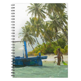 Woman on small traditional fishing boat, spiral note book