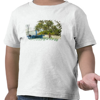 Woman on small traditional fishing boat, t shirt