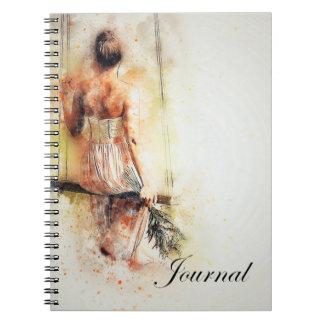 Woman on Swing Watercolor Journal