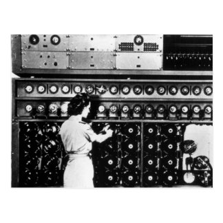 Woman Operates a Decryption Machine Postcard