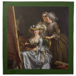 Woman Painter with Her Friends Cloth Napkins