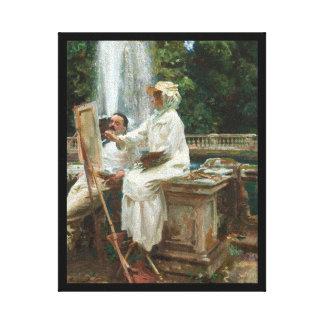 Woman Painting at Villa Torlonia Italy Canvas Prints