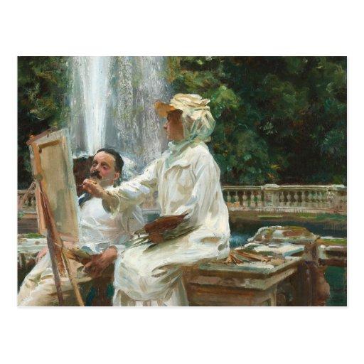 Woman Painting at Villa Torlonia Italy Postcards
