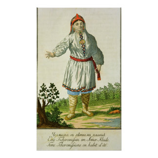 Woman peasant s summer costume Cheremes Tribe Poster