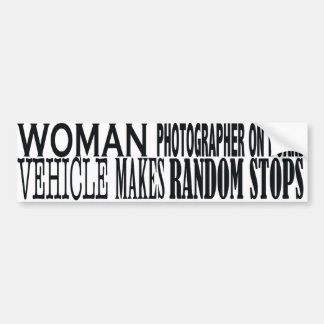 WOMAN PHOTOGRAPHER  ON BOARD BUMPER STICKER
