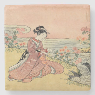 Woman picking chrysanthemums stone beverage coaster