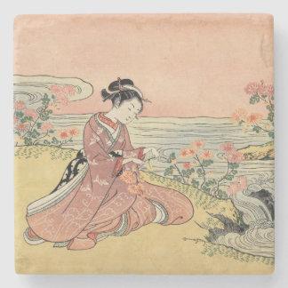 Woman picking chrysanthemums stone coaster