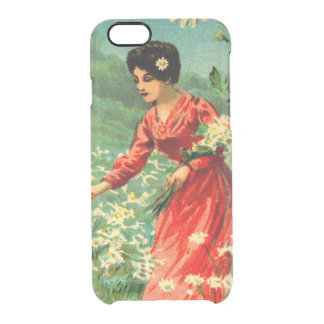 Woman picking flowers clear iPhone 6/6S case