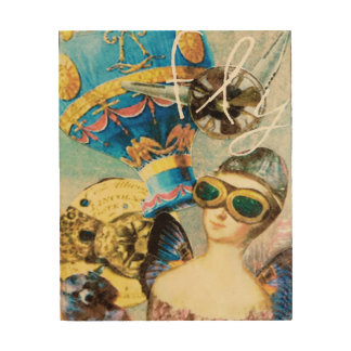 Woman Pilot Hot Air Balloon Poodle Fly Steampunk Wood Wall Decor