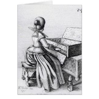 Woman Playing at a Keyboard, 1635 Card