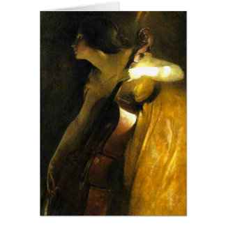 Woman Playing Cello Card