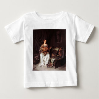 Woman Playing Lute music Instrument Medieval Baby T-Shirt