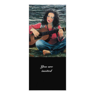 Woman Playing Music With Acoustic Guitar Card