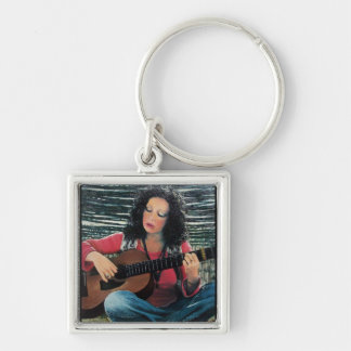Woman Playing Music With Acoustic Guitar Silver-Colored Square Keychain