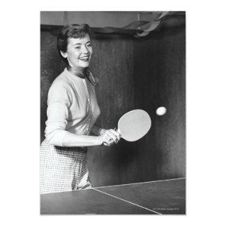 Woman Playing Table Tennis 13 Cm X 18 Cm Invitation Card
