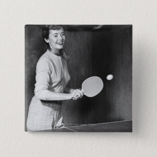 Woman Playing Table Tennis 15 Cm Square Badge