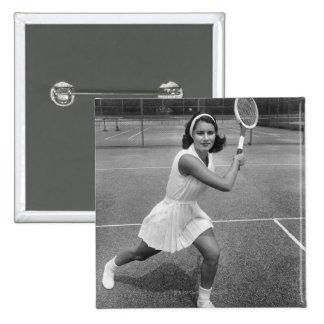 Woman playing tennis 15 cm square badge