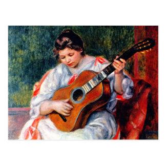 Woman Playing The Guitar by Pierre Renoir Postcard