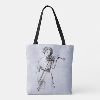 Woman playing the violin tote bag