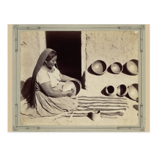 Woman Polishing Pottery - 1879 Postcard