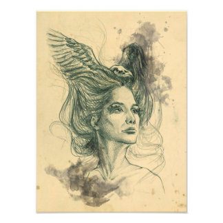 Woman portrait bird skull and wings Photo print