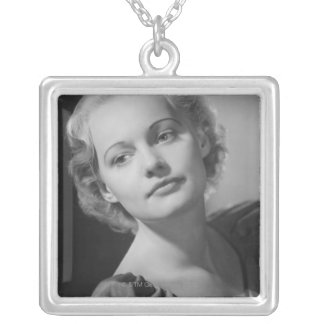 Woman Posing 2 Silver Plated Necklace