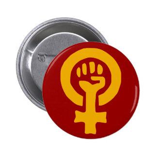 Woman power button 2 inch round button