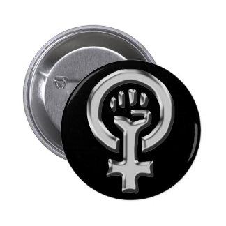 Woman power chrome button 2 inch round button