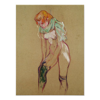 Woman Pulling Up her Stocking, 1894 (oil on card) Poster