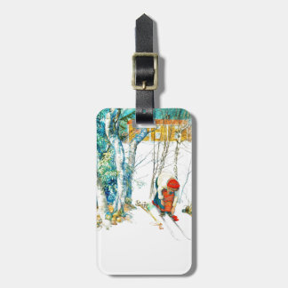 Woman Puts on Her Skis Luggage Tag