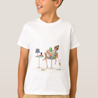 Woman Reading Book On Chair Custom Design T-Shirt