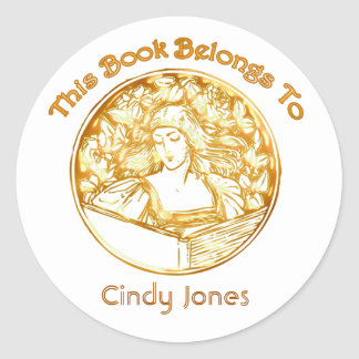 Woman Reading Bookplate Sticker