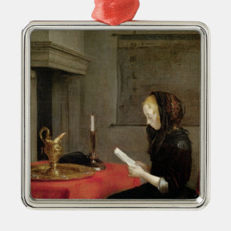 Woman Reading, c.1662 Silver-Colored Square Decoration