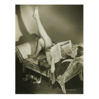 Woman Reading Magazine Postcard