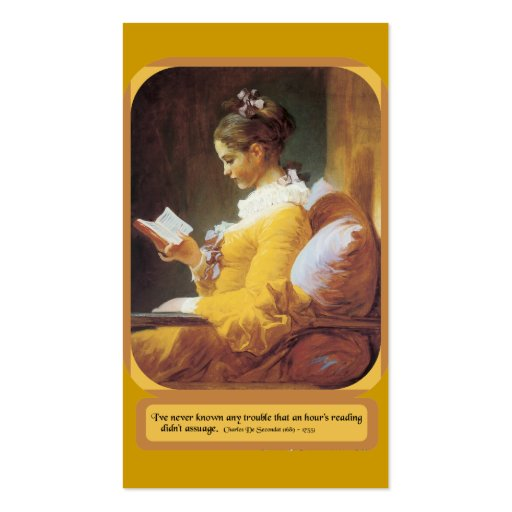 Woman Reading  Regular Business Card