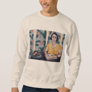 Woman Reading with Peaches Matisse Crewneck Sweatshirt