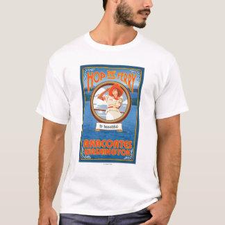 Woman Riding Ferry - Anacortes Washington T-Shirt