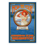 Woman Riding Ferry - Bainbridge Island, WA Poster