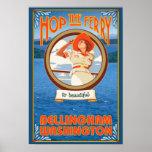 Woman Riding Ferry - Bellingham, Washington Poster