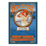 Woman Riding Ferry - Friday Harbour, Washington Poster