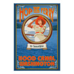 Woman Riding Ferry - Hood Canal, Washington Poster