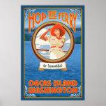 Woman Riding Ferry - Orcas Island, Washington Poster