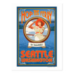 Woman Riding Ferry - Seattle, Washington Postcard
