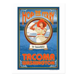 Woman Riding Ferry - Tacoma, Washington Postcard