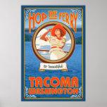 Woman Riding Ferry - Tacoma, Washington Poster