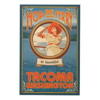 Woman Riding Ferry - Tacoma, Washington Wood Wall Art