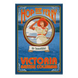 Woman Riding Ferry - Victoria, BC Canada Posters
