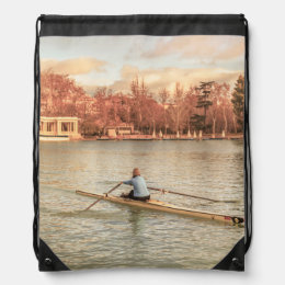 Woman Rowing at Del Retiro Park, Madrid, Spain Drawstring Bag