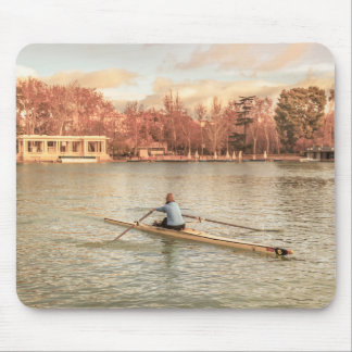 Woman Rowing at Del Retiro Park, Madrid, Spain Mouse Pad